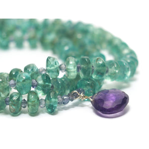 Apatite and Iolite Necklace with Amethyst Drop with Sterling Silver Trigger Clasp