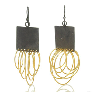 Gold Plated/Sterling Silver Curly Square Earrings
