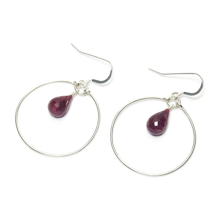 Ruby Faceted Drop Earrings with Sterling Silver Ear Wire