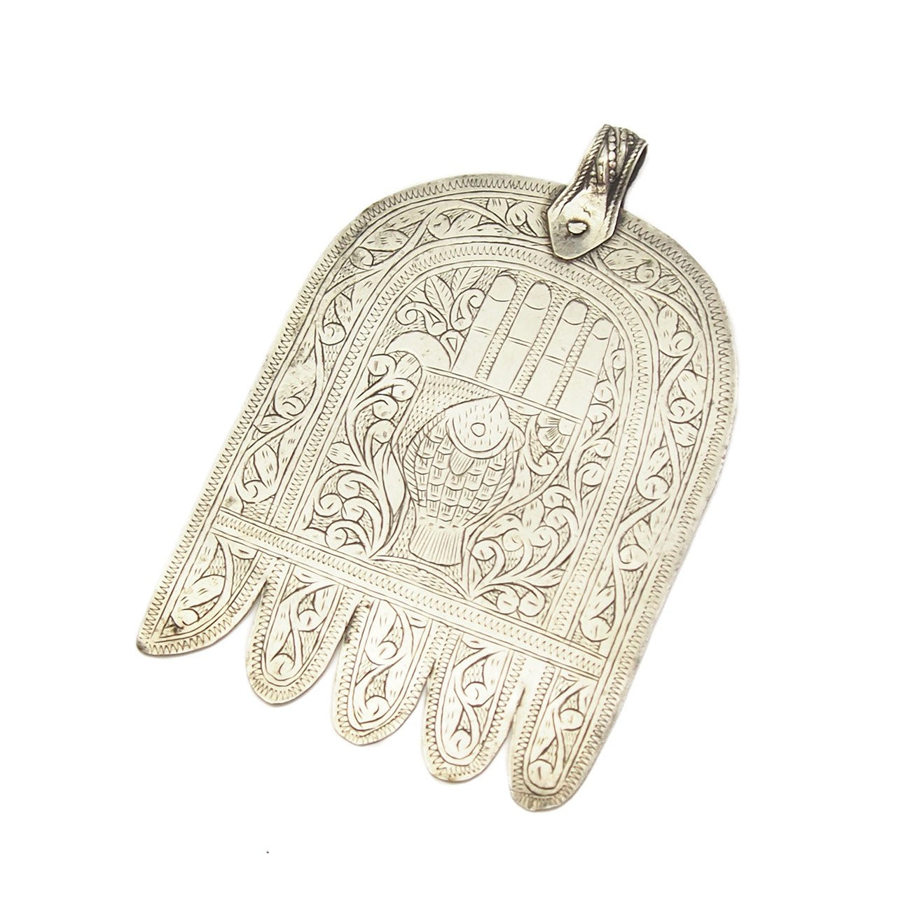Moroccan Hamsa W Engraved Hand And Fish Beads Of Paradise