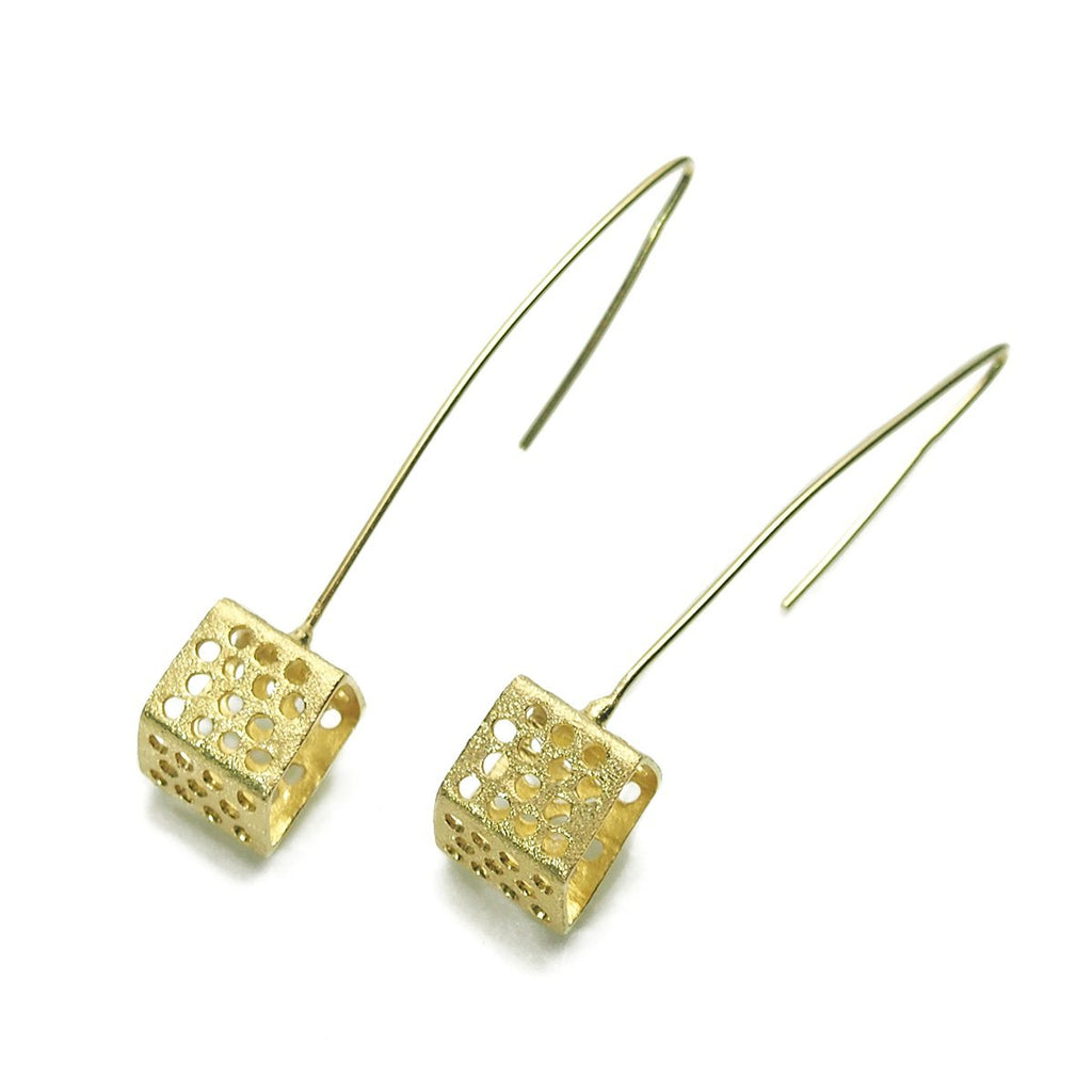 Gold Vermeil over Sterling Silver Cutout Cube Pole Earrings