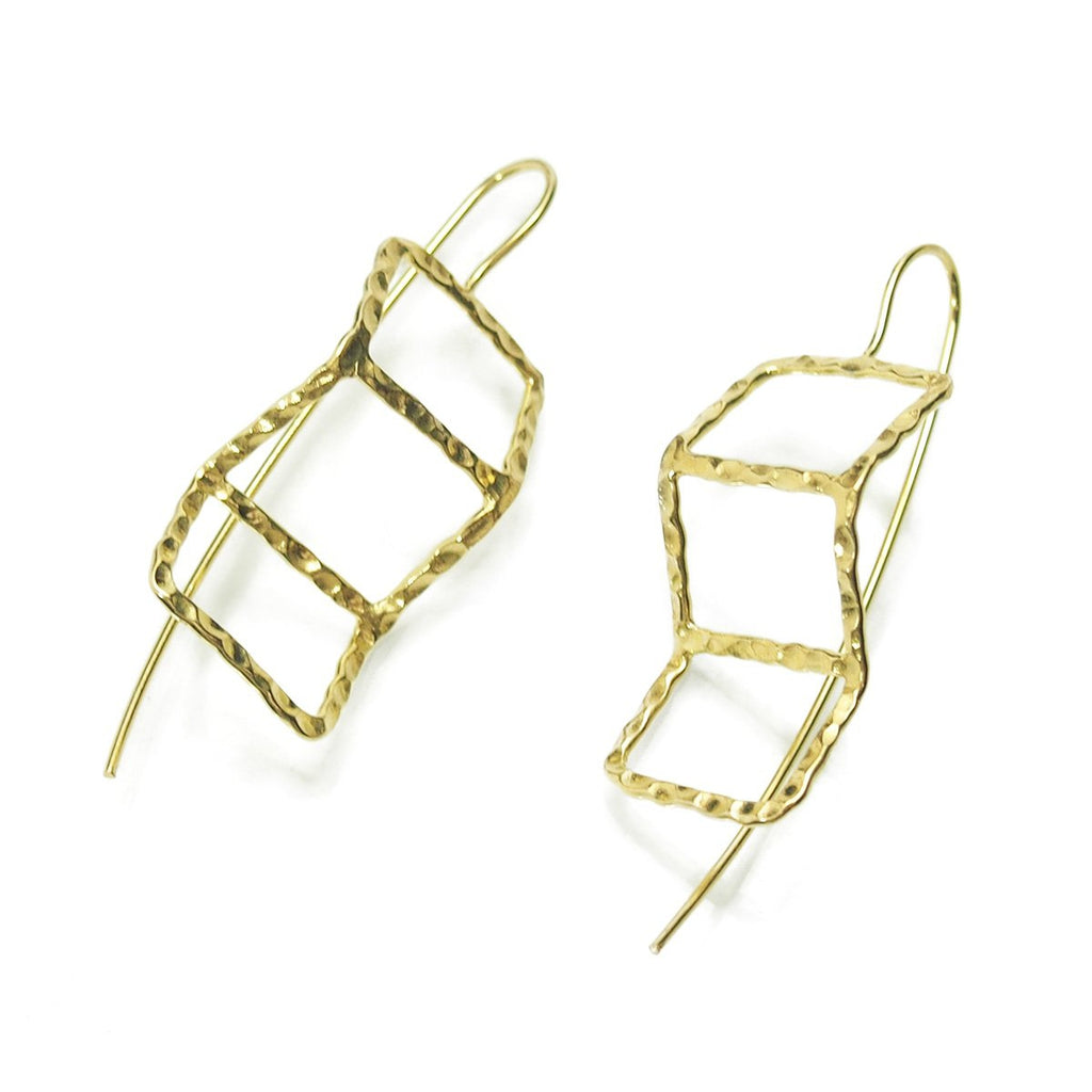 Gold Vermeil over Sterling Silver Hammered Fold Out Cube Earrings