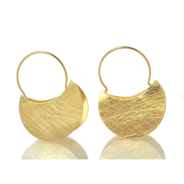Gold Vermeil over Sterling Silver Double Half Moon Earrings