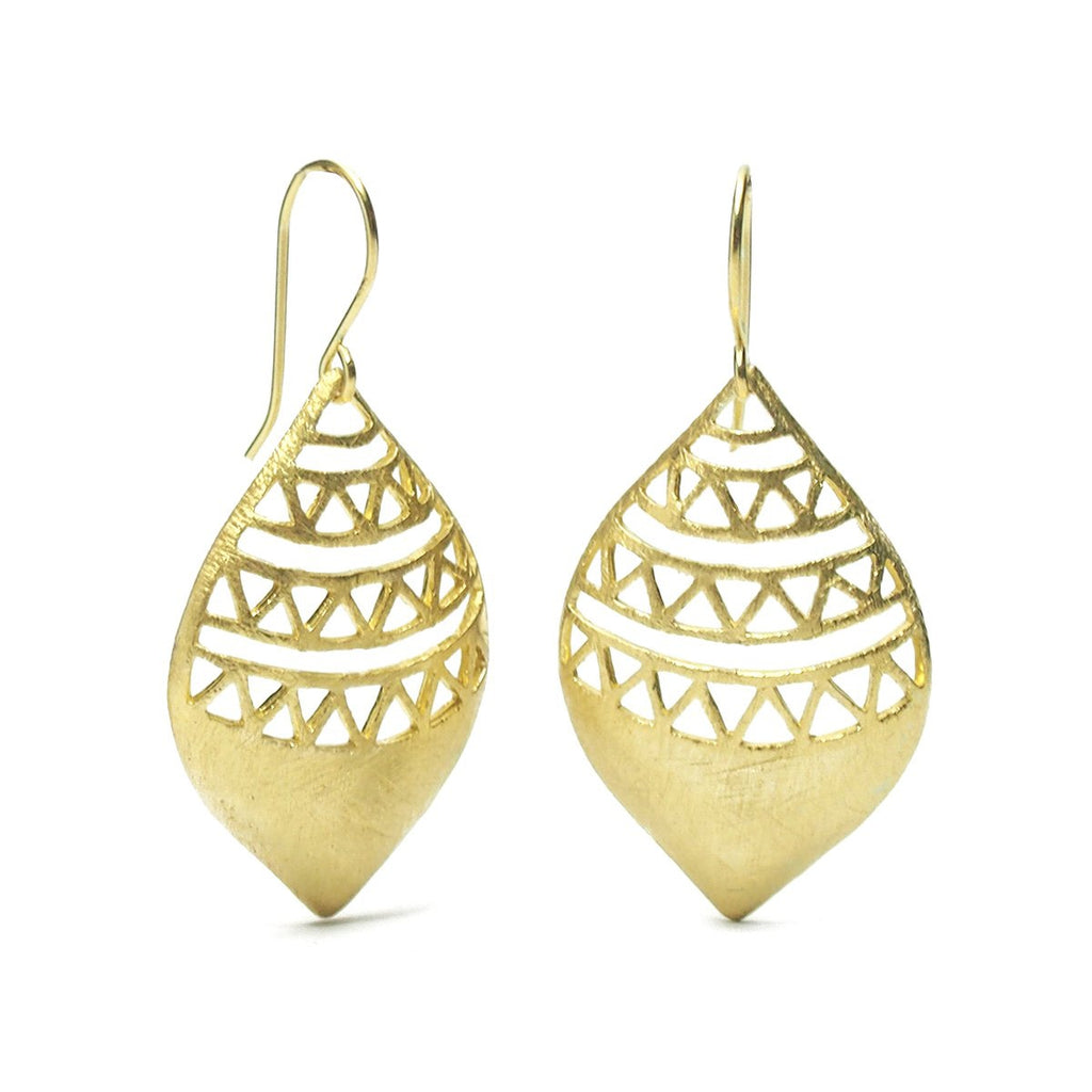 Gold Vermeil over Sterling Silver Brushed Cutout Earrings