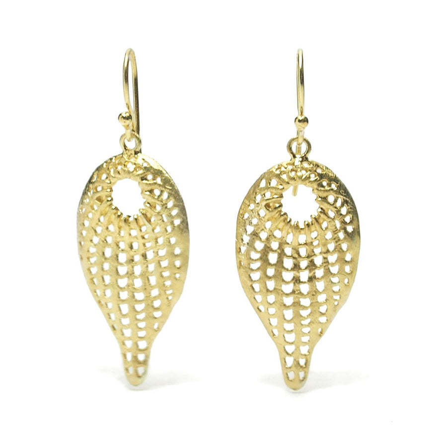 Gold Vermeil over Sterling Silver Cutout Leaf Earrings