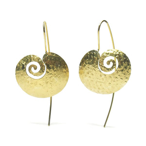 Gold Vermeil over Sterling Silver Hand Hammered Magatama Earrings