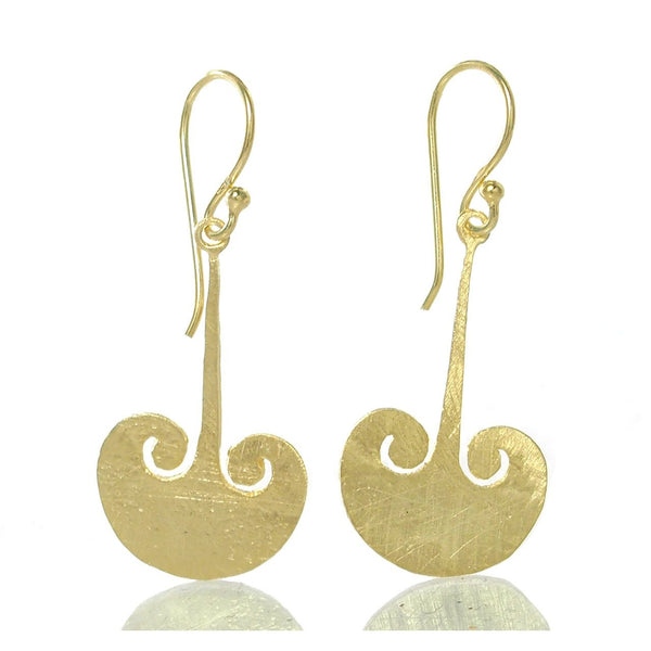 Gold Vermeil over Sterling Silver Brushed Magic Cloud Earrings