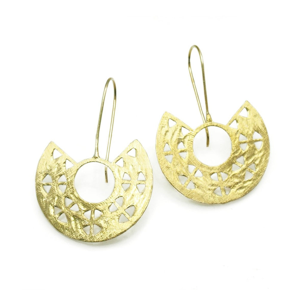 Gold Vermeil over Sterling Silver Brushed Cutout Semi Wheel Earrings