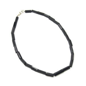 Black Tourmaline Natural Column Necklace