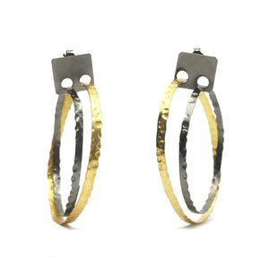 Gold Vermeil over Sterling Silver Hammered Double Hoop Earrings with Post