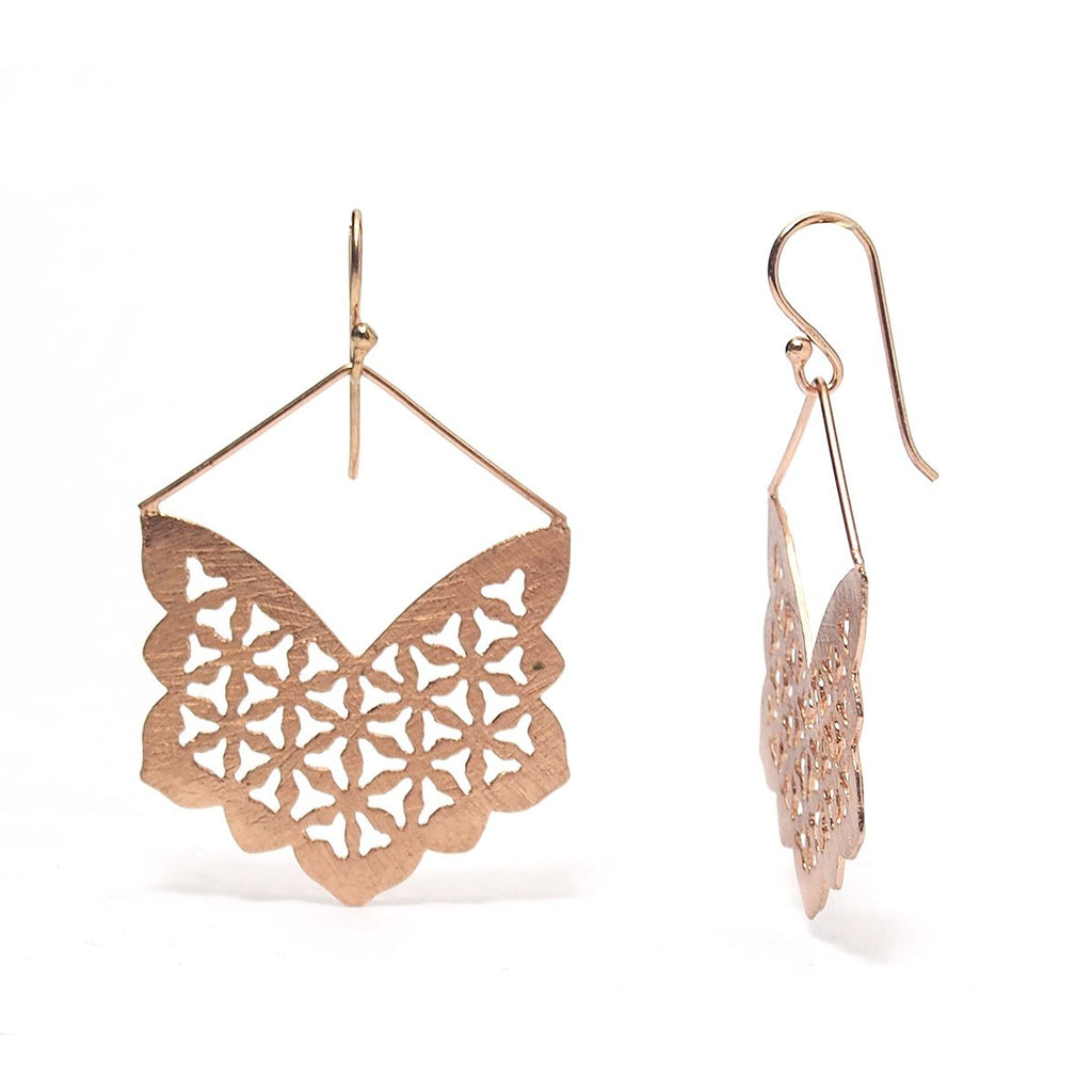 Rose Gold (18K) Brushed Snowflake Cutout Earrings