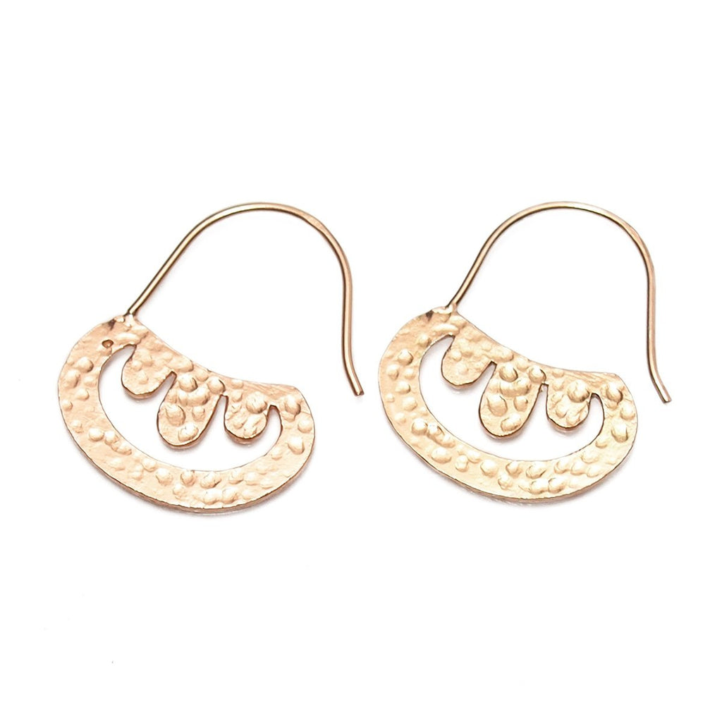 Rose Gold (18K) Hammered Bowl Earrings