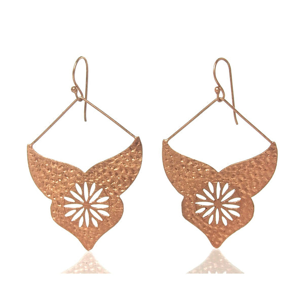 Rose Gold Brushed/Etched Earrings