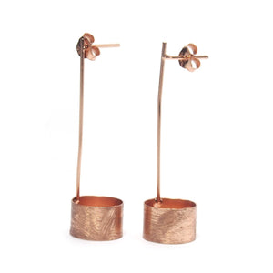 Rose Gold (18K) Brushed Pole/Open Can Earrings