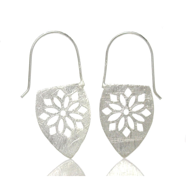 Sterling Silver Brushed Snowflake Cutout Earrings