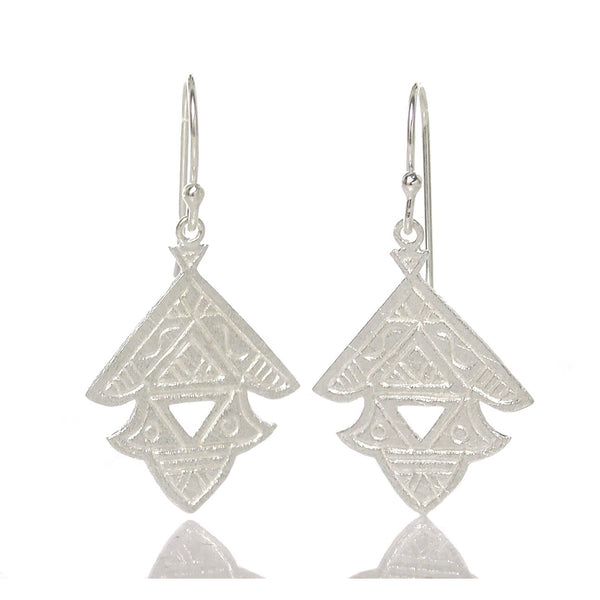 Sterling Silver Brushed Tuareg Style Earrings
