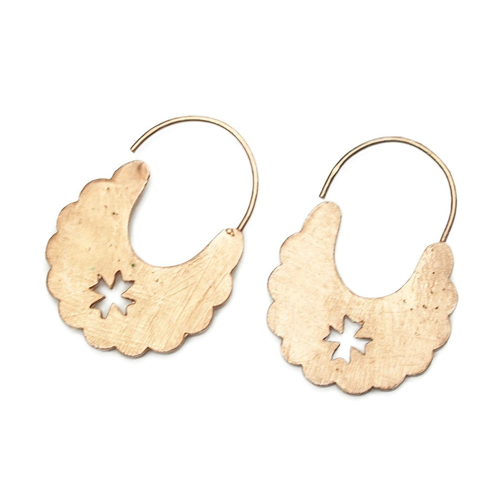 Rose Gold (18K) Brushed Cross Scallop Earrings