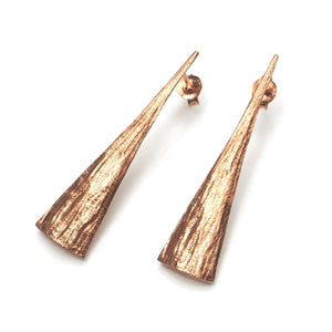 Rose Gold (18K) Brushed Tie Earrings