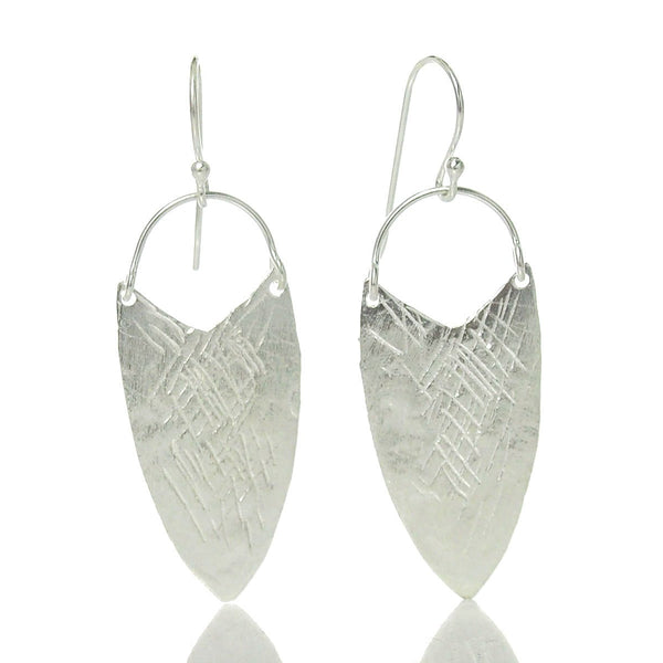 Sterling Silver Brushed Etched Shield Earrings