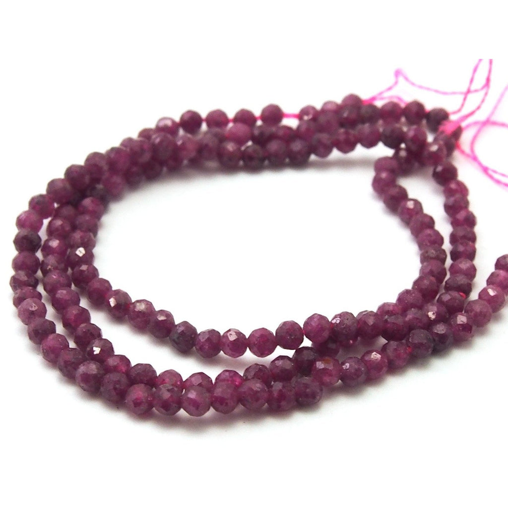Ruby Faceted Rounds 3mm