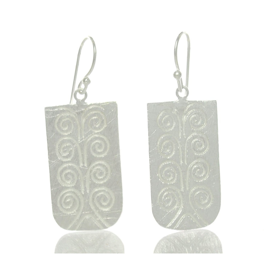 Tree of Life Hilltribe Brushed Sterling Silver Earrings