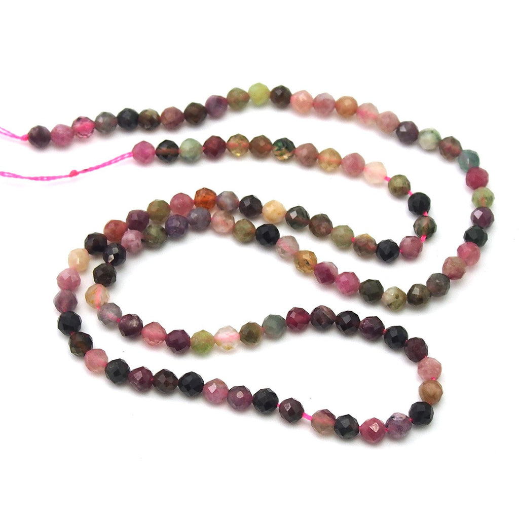 Watermelon Tourmaline Faceted Rounds 4mm