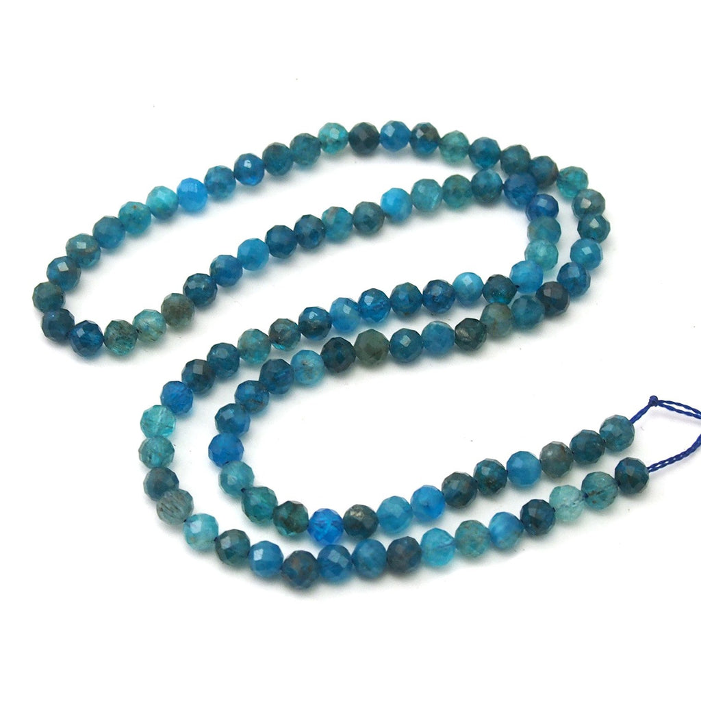 Cerulean Apatite Faceted Rounds 4mm Strand