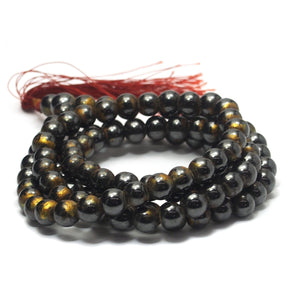 Gold Leaf Hematite Mala 6mm, 8mm,10mm