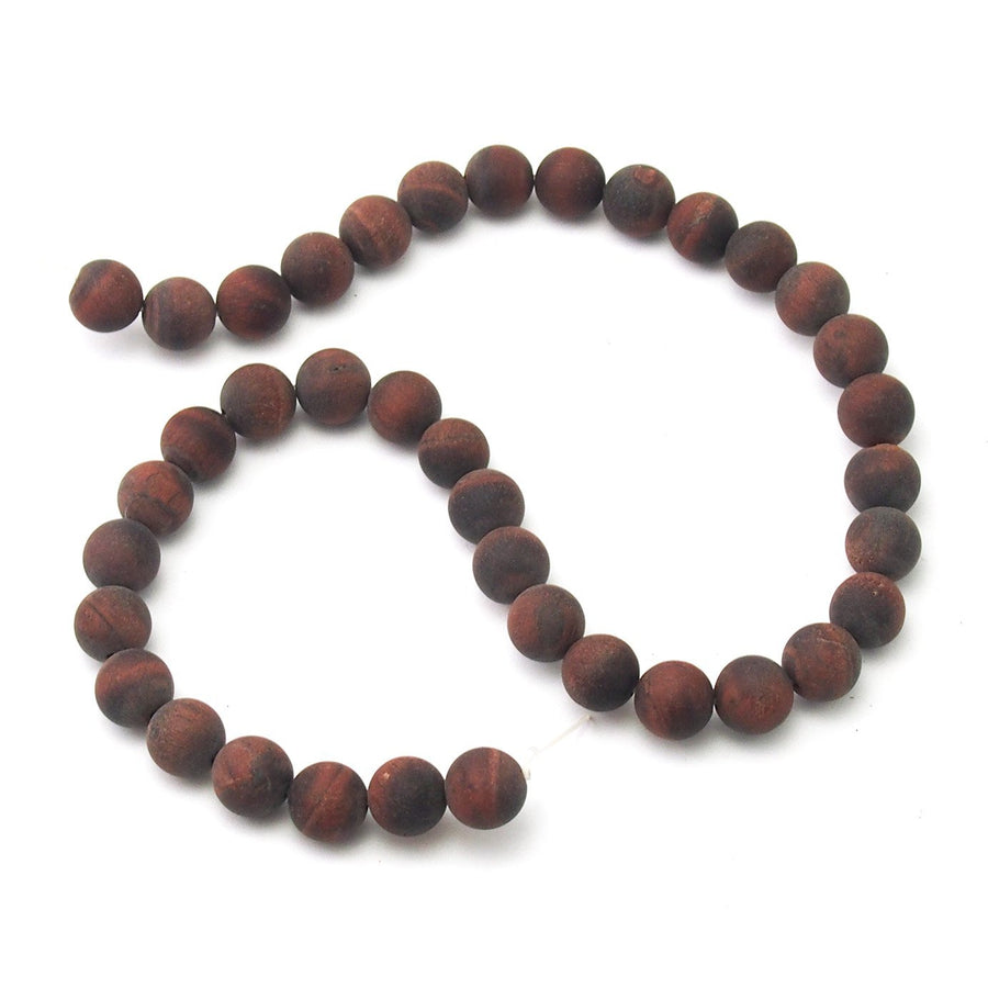 Red Tigers Eye Matte Smooth Rounds 10mm
