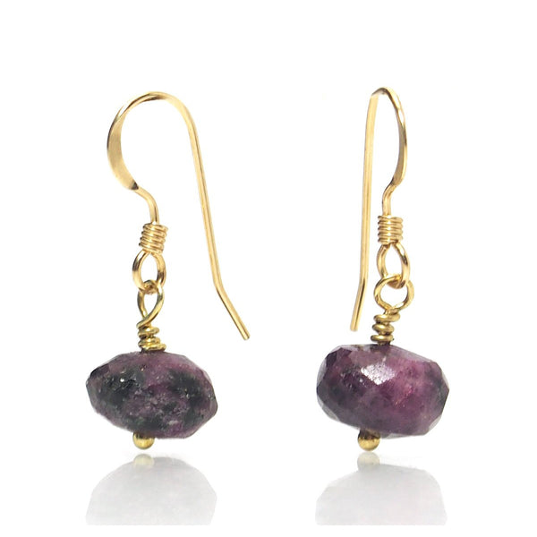 Ruby Zoisite Earrings with Gold Filled Ear Wire