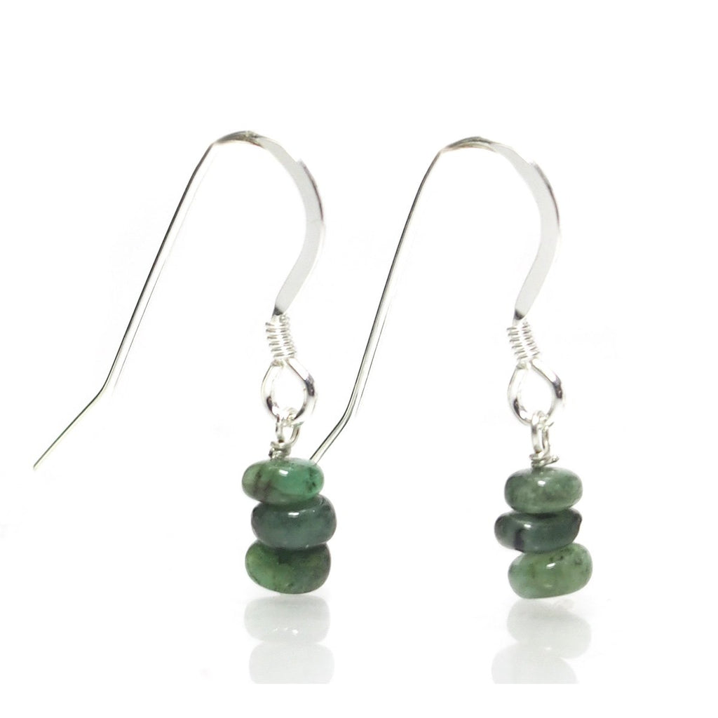 Emerald Earrings with Sterling Silver French Ear Wires