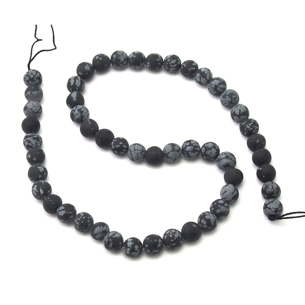 Snowflake Obsidian Matte Smooth Rounds 8mm