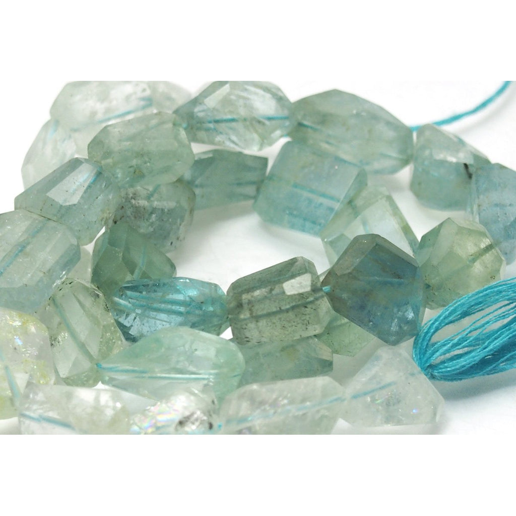 Aquamarine Faceted Nugget Strand
