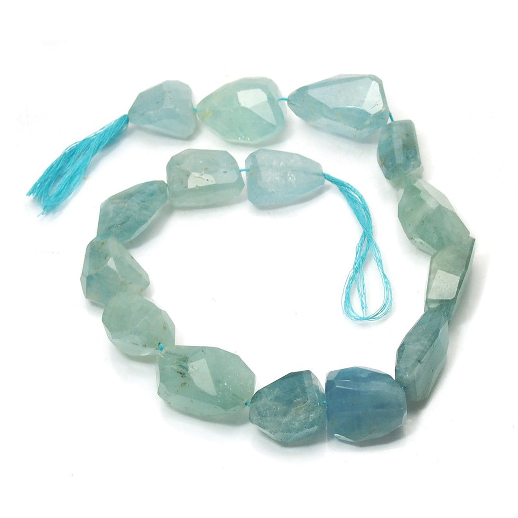Aquamarine XL Faceted Nugget Strand