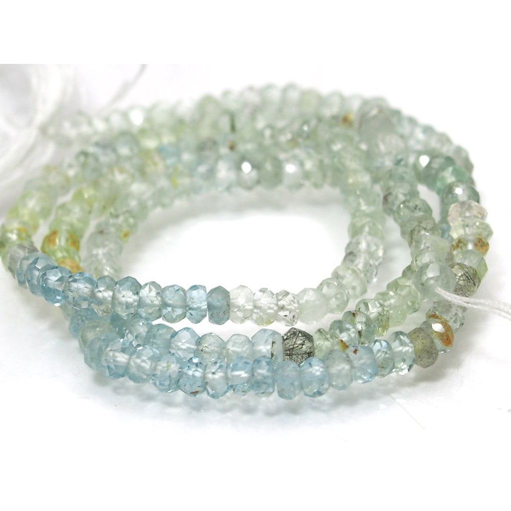 Aquamarine Faceted Rondelles 3.5mm Strand
