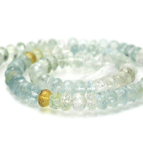 Aquamarine Faceted Rondelles 8mm, A