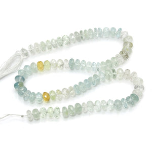 Aquamarine Faceted Rondelles 8mm Strand, A