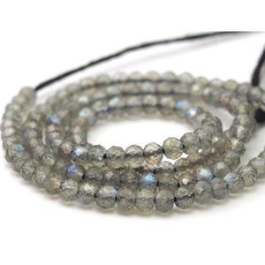 Labradorite Micro Faceted Rounds 3mm