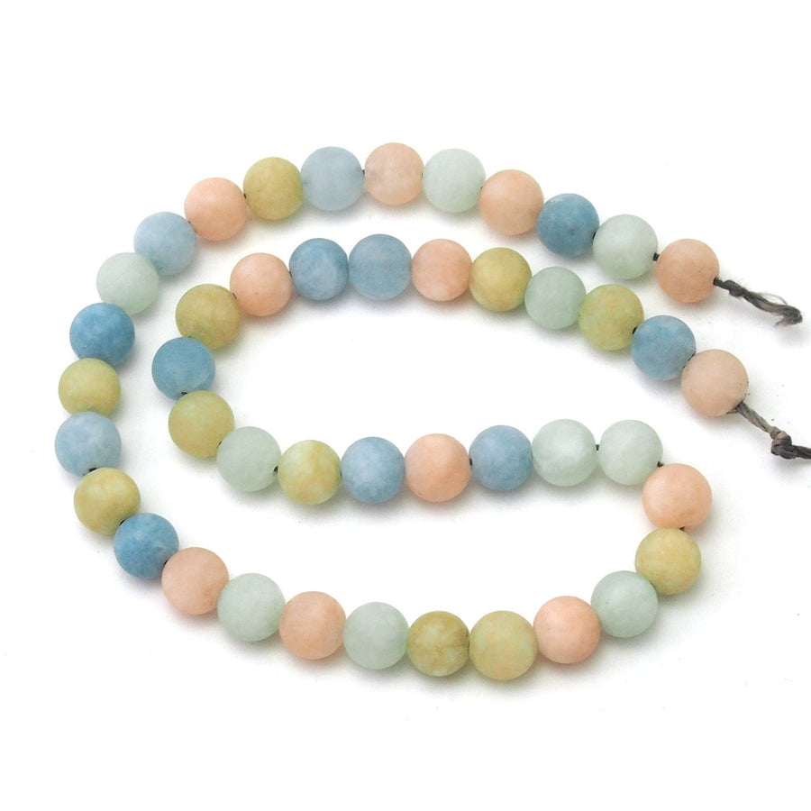 Aquamarine/Beryl Pastel Matte Smooth Rounds 8mm Strand