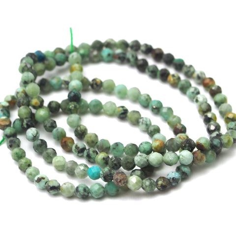 African Turquoise Faceted Rounds 2mm Strand