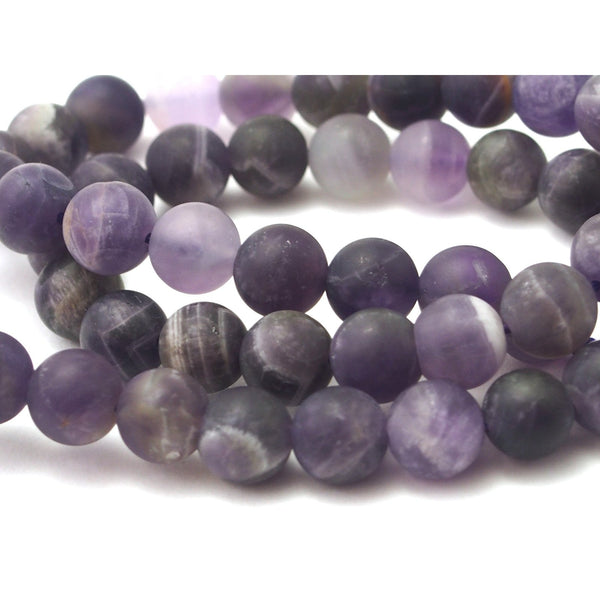 Chevron Amethyst Matte Smooth Rounds 8mm Strand