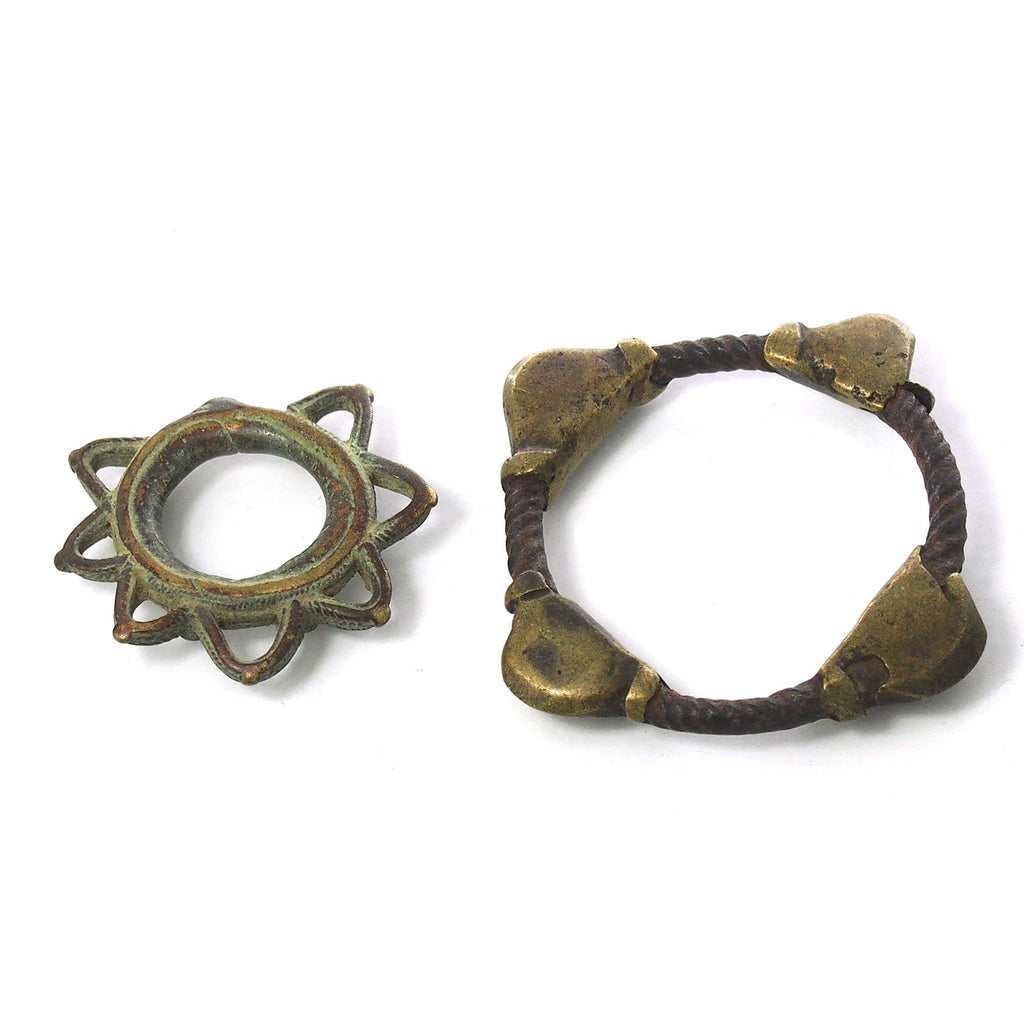 Bronze Thumb Ring and Iron and Brass Child Bracelet from Cote d'Ivoire