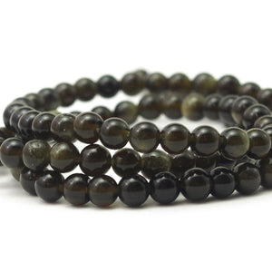 Obsidian Rainbow Smooth Rounds 5mm Strand