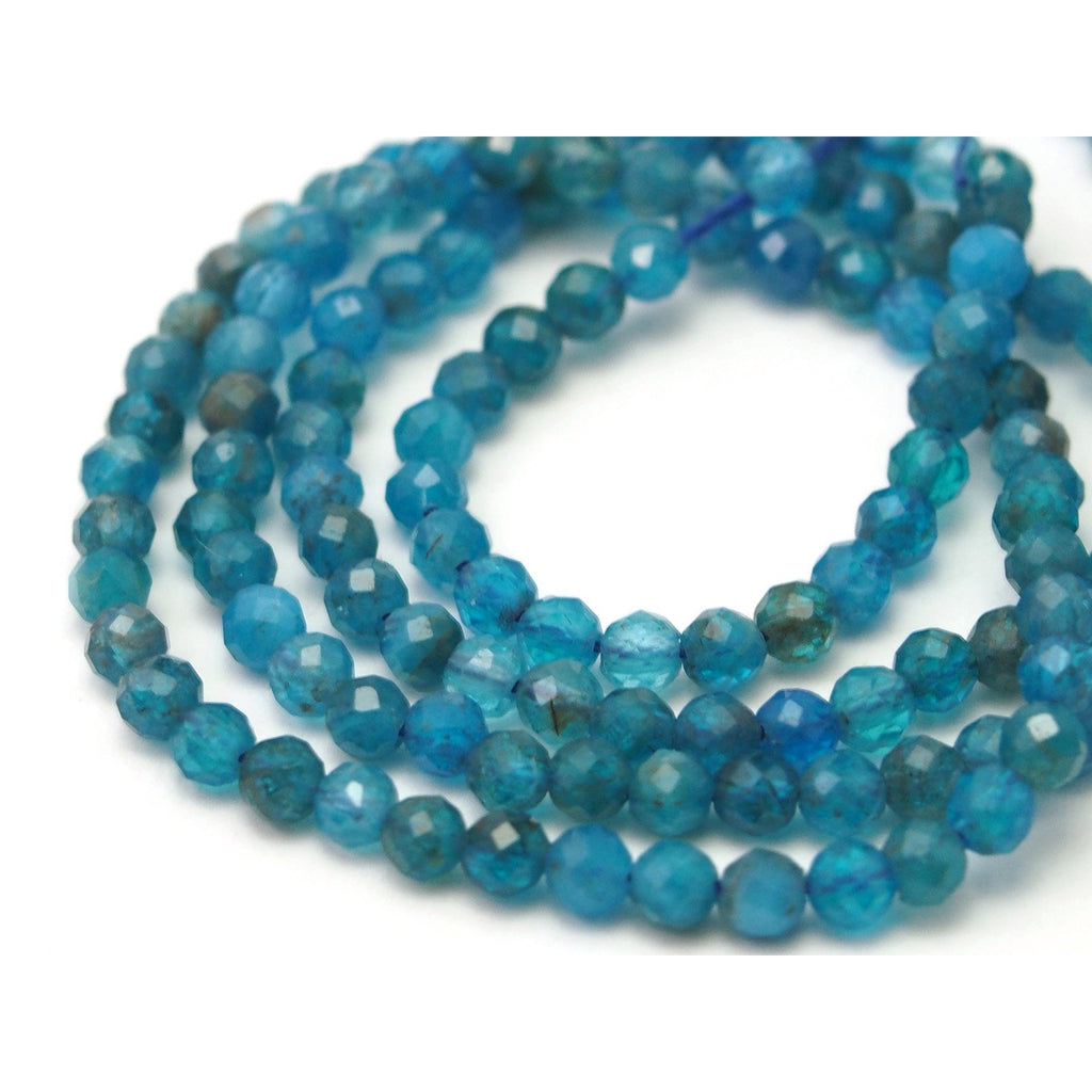 Cerulean Apatite Faceted Rounds 3mm