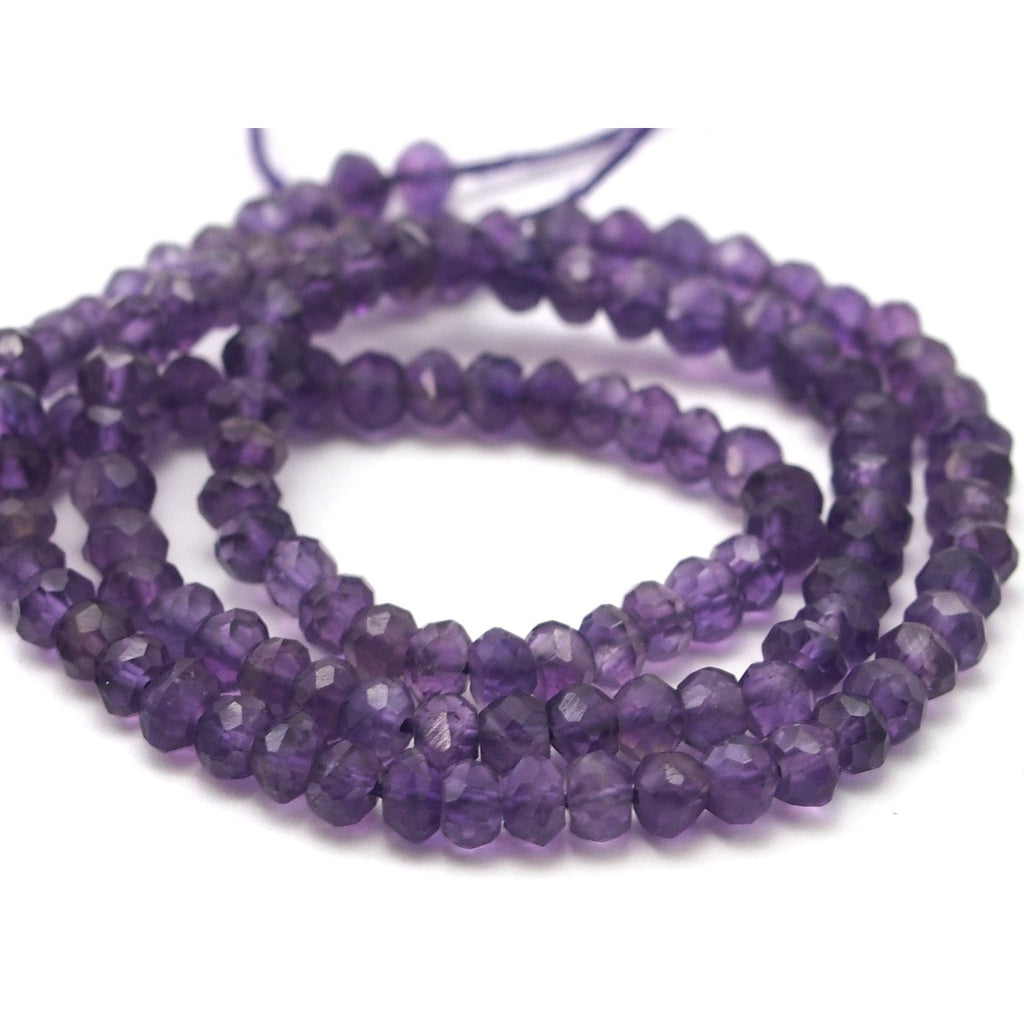 Amethyst Faceted Rondelles 4mm Strand