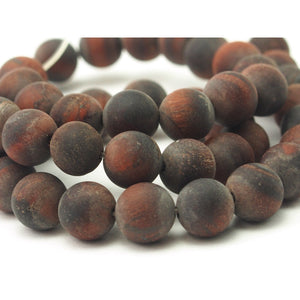 Red Tigers Eye Matte Smooth Rounds 8mm