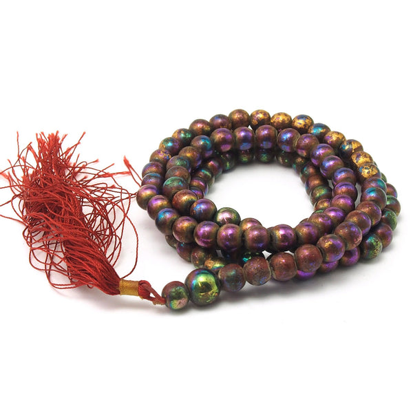 Gold Leaf Hematite Mala 8mm