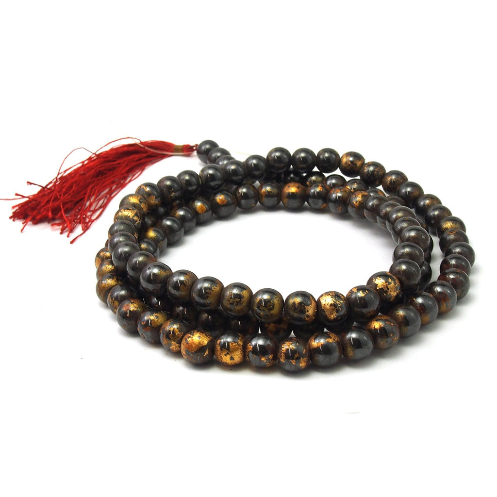 Gold Leaf Hematite Mala 12mm