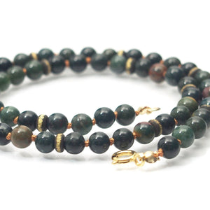 Bloodstone Smooth Rounds Knotted Necklace 6mm with Gold Filled Spring Clasp