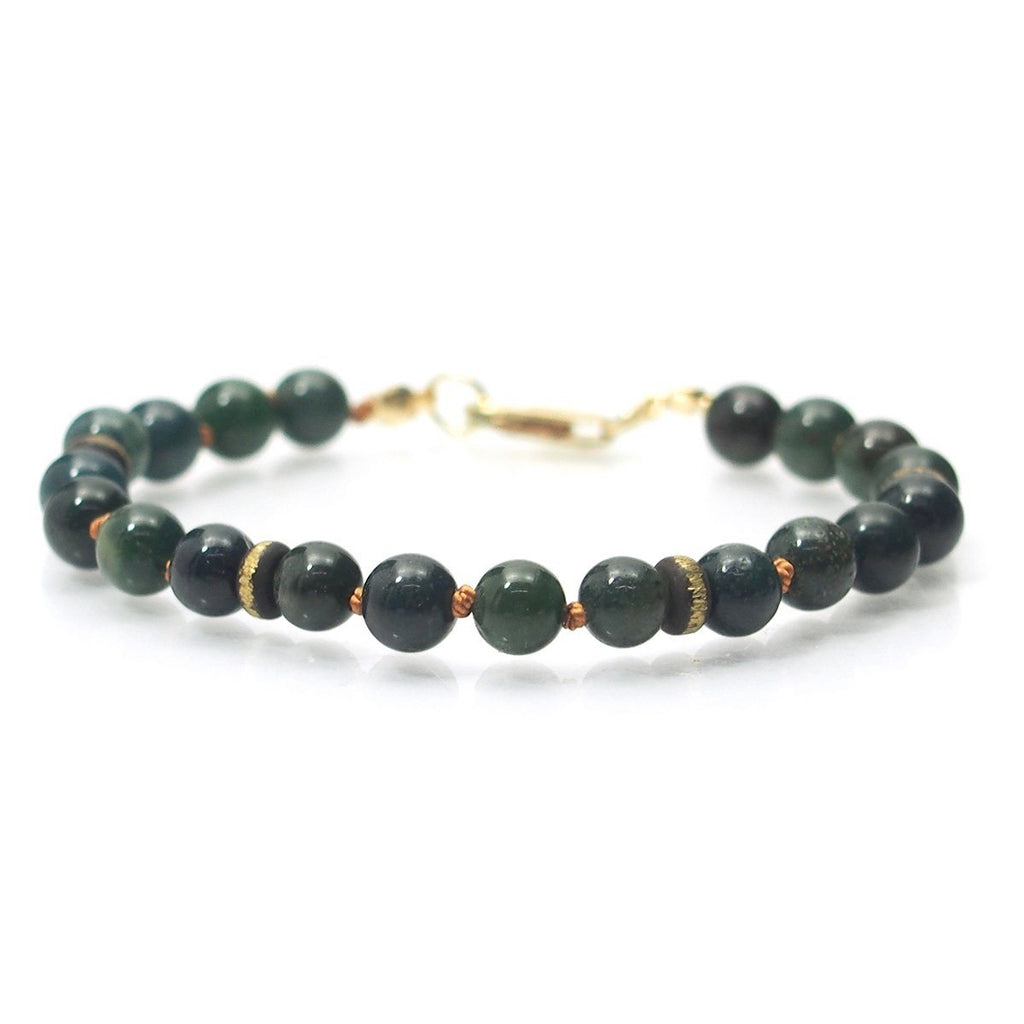 Bloodstone Smooth Rounds Bracelet with Gold Filled Lobster Claw Clasp